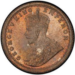BRITISH INDIA: George V, 1910-1936, AR 1/4 rupee, 1911(c). PCGS MS64