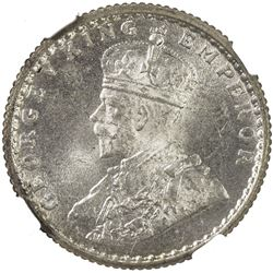 BRITISH INDIA: George V, 1910-1936, AR 1/4 rupee, 1936(c). NGC MS66