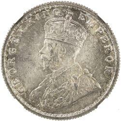 BRITISH INDIA: George V, 1910-1936, AR 1/2 rupee, 1916(c). NGC MS63