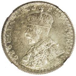 BRITISH INDIA: George V, 1910-1936, AR 1/2 rupee, 1927(c). NGC MS65