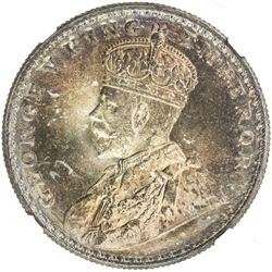 BRITISH INDIA: George V, 1910-1936, AR rupee, 1913(b). NGC MS65