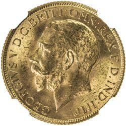 BRITISH INDIA: George V, 1910-1936, AV sovereign, 1918-I. NGC MS63
