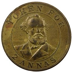 BRITISH INDIA: 2 annas token (6.91g), ND (1899). EF