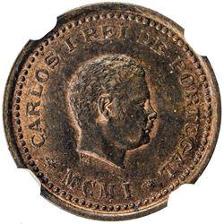 PORTUGUESE INDIA: Carlos I, 1889-1908, AE 1/12 tanga, 1901. NGC MS64
