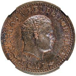 PORTUGUESE INDIA: Carlos I, 1889-1908, AE 1/8 tanga, 1901. NGC MS64