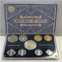 INDIA: Republic, 9-coin proof set, 1971-B. PF