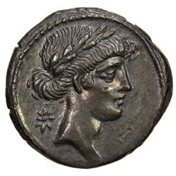 ROMAN REPUBLIC: Q. Pomponius Musa, 66 BC, AR denarius (3.79g). EF
