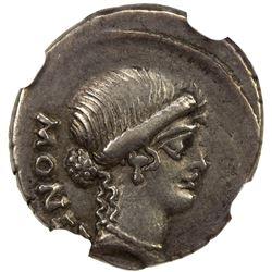 ROMAN REPUBLIC: T. Carisius, 46 BC, AR denarius (4.00g). NGC VF