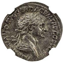 ROMAN EMPIRE: Trajan, 98-117 AD, AR denarius (3.34g), ND. NGC AU