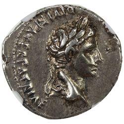 ROMAN EMPIRE: Augustus, 27 BC-14 AD, AR denarius (3.86g), Lugdunum (Lyon). NGC EF