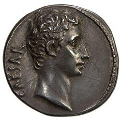 ROMAN EMPIRE: Augustus, 27 BC-14 AD, AR denarius (3.65g), Lugdunum (Lyon) mint. EF