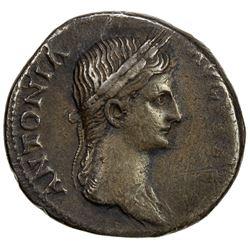 ROMAN EMPIRE: Antonia, mother of Claudius, 41-47 AD, AR denarius (3.71g). F