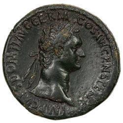 ROMAN EMPIRE: Domitian, 81-96 AD, AE sestertius (27.49g). F-VF