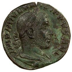 ROMAN EMPIRE: Philip I, 244-249 AD, AE sestertius (17.73g), Rome mint. VF-EF