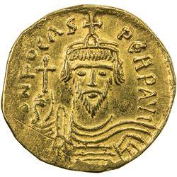 BYZANTINE EMPIRE: Phocas, 602-610, AV solidus (4.38g), Constantinople. VF-EF