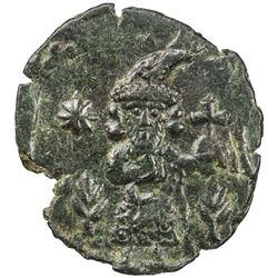 BYZANTINE EMPIRE: Justinian II, First reign, 685-695, AE follis (3.44g), Syracuse, Sicily. EF