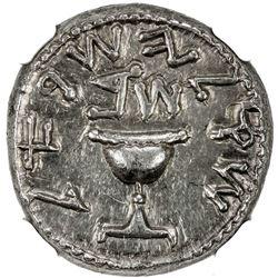 ANCIENT JUDEA: The Jewish War, 66-70 AD, AR shekel (14.14g), Jerusalem mint, year 2 (AD 67/8). NGC A