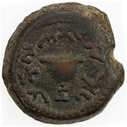 ANCIENT JUDEA: The Jewish War, 66-70 AD, AE eight shekel (5.42g), Jerusalem mint, year 4 (=69/70 AD)
