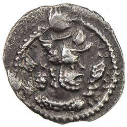 SASANIAN KINGDOM: Peroz, 457-484, AR obol (0.48g), BBA (the Court mint), ND. EF