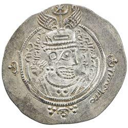 ARAB-SASANIAN: 'Abd Allah b. al-Zubayr, 680-692, AR drachm (4.07g), DA+GH (Jahrom), YE60. AU
