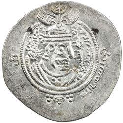 ARAB-SASANIAN: 'Abd al-Malik b. Marwan, 685-705, AR drachm (4.15g), DA+P (Fasa), YE60. EF