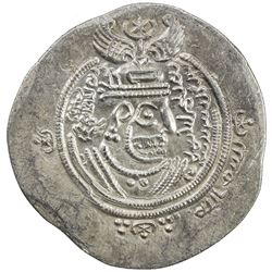 ARAB-SASANIAN: 'Abd al-Malik b. Marwan, 685-705, AR drachm (4.12g), DA+P (Fasa), YE60. EF