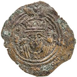 ARAB-SASANIAN: Anonymous, ca. 700-720, AE pashiz (0.79g), NM, ND. VF