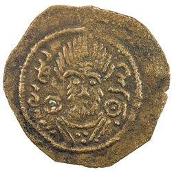 ARAB-SASANIAN: Anonymous, ca. 690-710, AE pashiz (0.75g), Bishapur, ND. VF