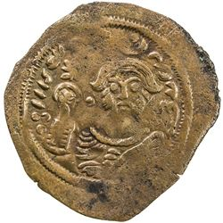ARAB-SASANIAN: Anonymous, ca. 690-710, AE pashiz (0.70g), Bishapur, ND. F-VF