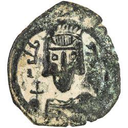 """ARAB-BYZANTINE: Sicilian Imperial Bust, ca. 670s, AE fals (2.98g), """"SCL"""", ND. F-VF"""