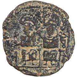 ARAB-BYZANTINE: Justin & Sophia type, ca. 675-700+, AE follis (8.51g), Jerash (Gerasa), ND. VG-F