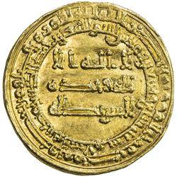ABBASID: al-Muqtadir, 908-932, AV dinar (4.18g), Madinat al-Salam, AH297. EF-AU