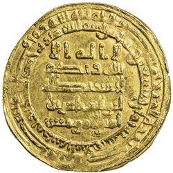 ABBASID: al-Muqtadir, 908-932, AV dinar (4.62g), Madinat al-Salam, AH298. EF