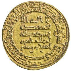 ABBASID: al-Muqtadir, 908-932, AV dinar (4.07g), Misr, AH302. EF-AU