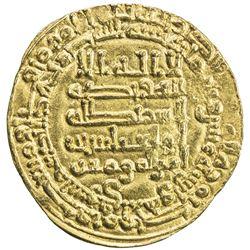ABBASID: al-Muqtadir, 908-932, AV dinar (4.01g), Suq al-Ahwaz, AH302. EF