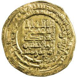 ABBASID: al-Muqtadir, 908-932, AV dinar (4.32g), Hamadan (Hamadhan), AH318. VF-EF