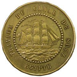 EGYPT: 1 franc token (7.71g), 1865. UNC