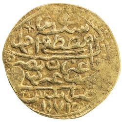 TRIPOLI: Mustafa III, 1757-1774, AV sultani (3.34g), Tarabulus Gharb (Trablus), AH1171. VF-EF