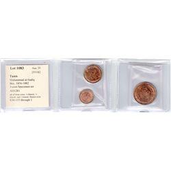 TUNIS: Muhammad al-Sadiq Bey, 1856-1882, 3-coin Specimen set, AH1281