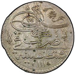 TURKEY: Ahmad III, 1703-1730, AR yirmilik (20 para), Kostantiniye, AH1115. PCGS MS63