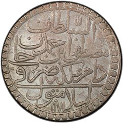 TURKEY: Mustafa III, 1757-1774, AR 2 zolota, Islambul, AH1171 year 8. PCGS MS64