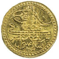 TURKEY: Selim III, 1789-1807, AV zeri mahbub (2.39g), Kostantiniye, AH1203 year 15. UNC