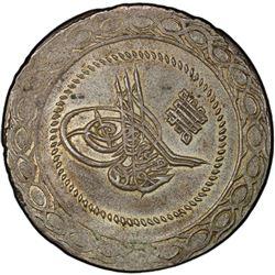 TURKEY: Mahmud II, 1808-1839, AR 5 kurush, Kostantiniye, AH1223 year 3. PCGS AU58