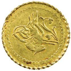 TURKEY: Mahmud II, 1808-1839, AV 1/4 zeri mahbub (0.78g), Kostantiniye, AH1223 year 8. EF-AU
