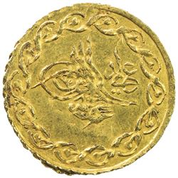 TURKEY: Mahmud II, 1808-1839, AV 1/4 cedid mahmudiye (0.40g), Kostantiniye, AH1223 year 30. AU