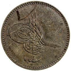 TURKEY: Abdul Aziz, 1861-1876, AE 5 para, Kostantiniye, AH1277 year 4, Heaton Mint specimen strike