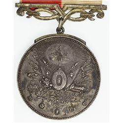 TURKEY: Abdul Hamid II, 1876-1909, AR medal. EF
