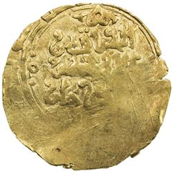 GREAT MONGOLS: Chingiz Khan, 1206-1227, AV dinar (3.47g), ND. VF