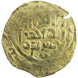 GREAT MONGOLS: Anonymous, ca. 1220-1250, AV dinar (4.28g), Bukhara, ND. VF-EF