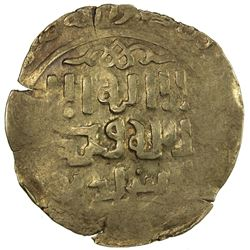 GREAT MONGOLS: Anonymous, ca. 1220s-1240s, AV dinar (2.99g) (Bukha)ra, ND. VF